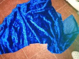 Мех искусственный, синий, большой кусок