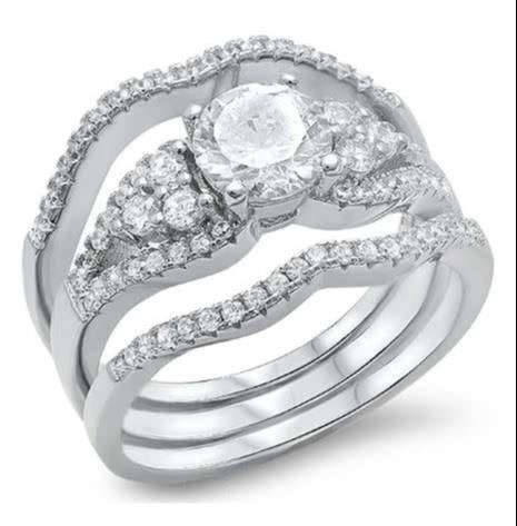 Solid Sterling Silver 1.50ct Round Cut Triple Wedding Ring Set