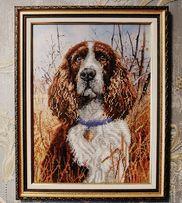 Картина вышита бисером собака спаниель