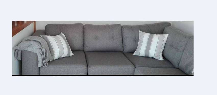 L-shaped GREY couch - excellent condition 0