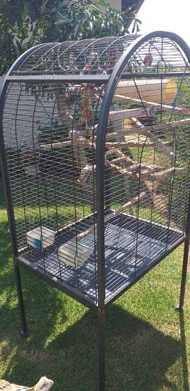 Tall grey lack rust free  parrot cage