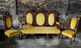 Wyjątkowy zestaw neorenesansowy,sofa, krzesła CUDO*transport