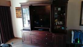 Solid Oak TV Cabinet with plantation style detail