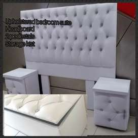 White upholstered bedroom suite