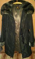 Зимнее пальто с мехом шиншиллы и кролика