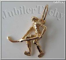 Złoty lub Srebrny Wisiorek Hokeista Tychy Hokej Złoto Au 585