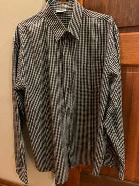 Formal off -navy and white buttoned flannel (43/44 or XL)