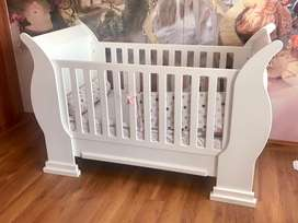 Large White Sleigh Cot, Compactum and Shelves