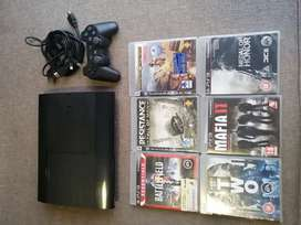 PS3 Superslim 450gb + 1 Wireless Dual Shock 3 Controller + 6 Games