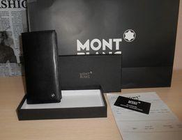 Duży oryginalny czarny PORTFEL MĘSKI Mont Blanc, skóra, Niemcy 11-004