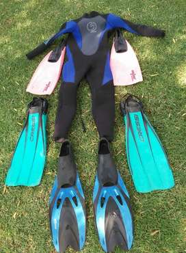 Kiddies Wet Suit and x3 Flippers