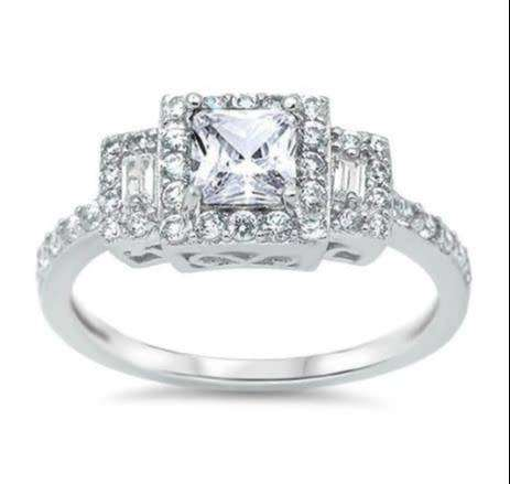 """Solid Sterling Silver""""New!* Princess Cut Trilogy Halo Ring"""