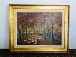 Obraz olejny na płótnie, aukcyjny, pejzaż leśny, Max de Tiege 1896