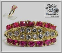 Złoty pierścionek z cyrkonie + rubiny Złoto 585 Jubiler Tychy