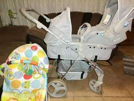 Bounce baby pram, car seat and carrycot. 2019 model. New born to 2yrs.