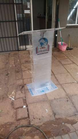 Full Frosted Front Acrylic Industrial Church Lectern