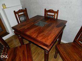 Stół drewniany palisander z żeliwną wstawką i szybą meble indyjskie