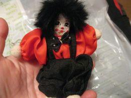 игрушка детская клоун маленький кукла немецкая волосы-мех натуральный