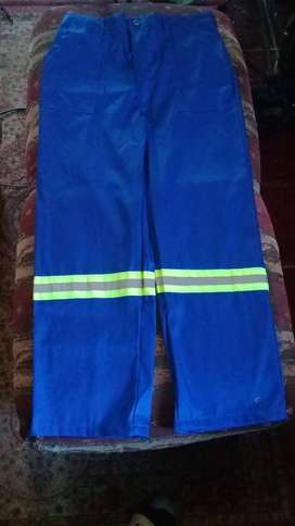 Navy Blue Utility General Working Pants With Green Reflectors