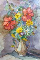 акварель Натюрморт с цветами