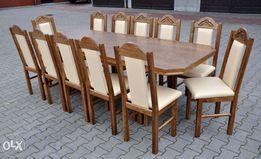 Stol 2,44x95 +12 krzeslel z duza rzezba jasny orzech ( eko-skora nr4)