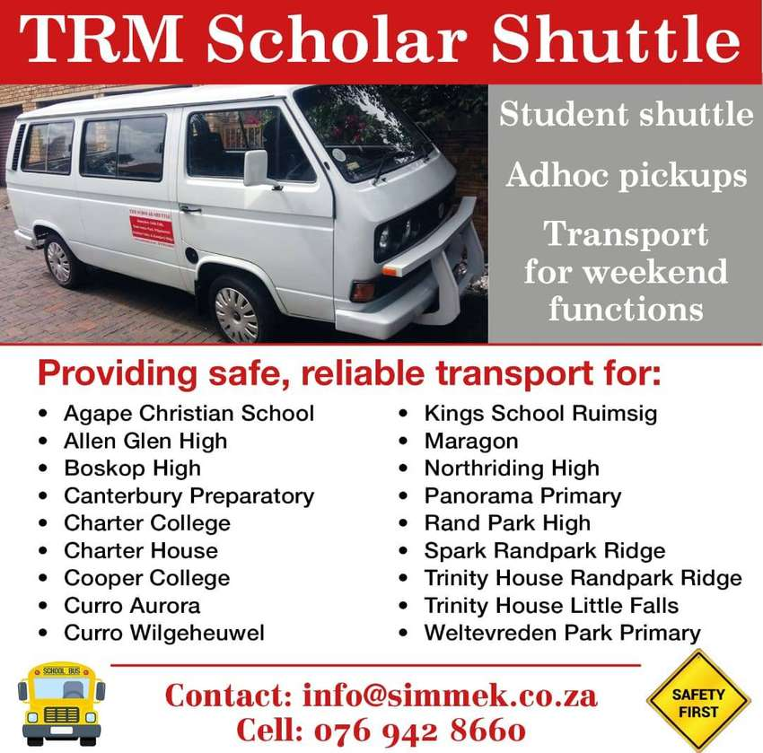 TRM Scholar Transport Seats Available for 2019. Hurry space filling up 0