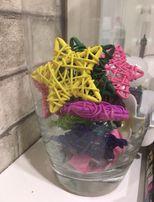 Елочные игрушки ротанг,декоративное оформление