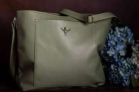 Fine olive green leather