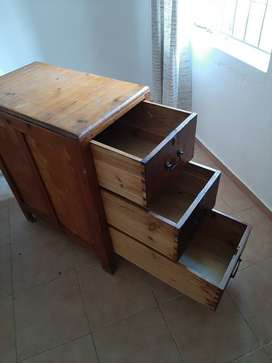 Solid wooden cupboard with three deep drawers