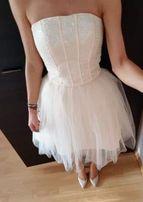 Sukienka na wesele YOSHE nude karmel pastelowa tiulowa jak TOU ASOS 36