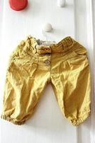 Spodnie Next musztardowe, jak Zara, rozm.86, pumpki, spodenki
