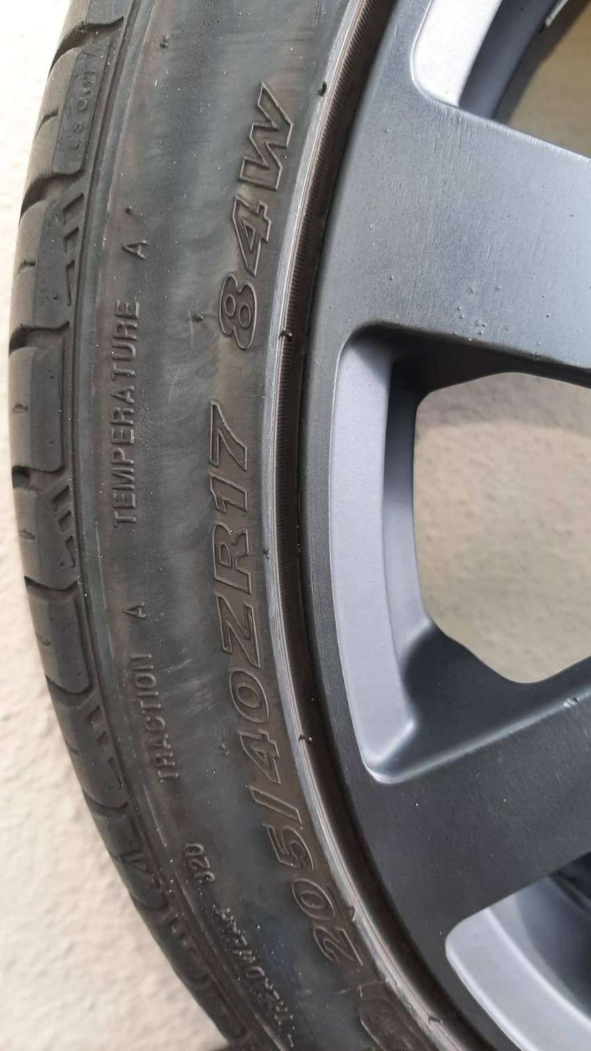 17 inch A-line rims with 3 good condition tyres for sale