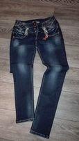 Sprzedam spodnie damskie jeans cyrkonie,ozdoby,rozm.30(L)