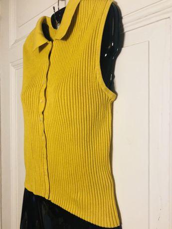 Bluzka sweter bez rękawów musztardowy żółty M/38 guziki Bydgoszcz - image 3