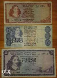 Image of S.A R1,R2 and 1975 R5 note set
