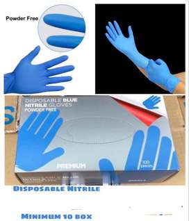 Disposible mitrile blue gloves