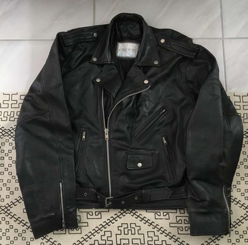 Genuine Leather biker jacket double breasted size 3XL 0