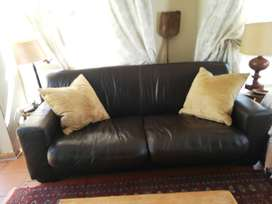 Coricraft genuine leather brown couch