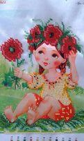 Картина чешским бисером девочка с цветочком