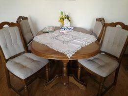 Dębowy stół, rozkładany + 5 krzeseł