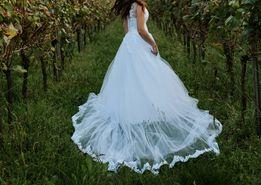 suknia ślubna rozmiar 36 tren welon bolerko