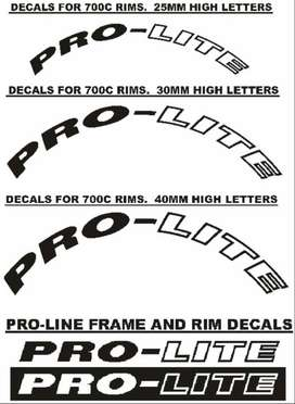 Pro-Lite bicycle frame and rim decals stickers graphics kits