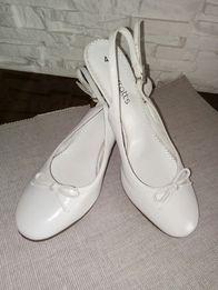 Buty 37 Barratts Skórzane białe pantofle ślub wesele