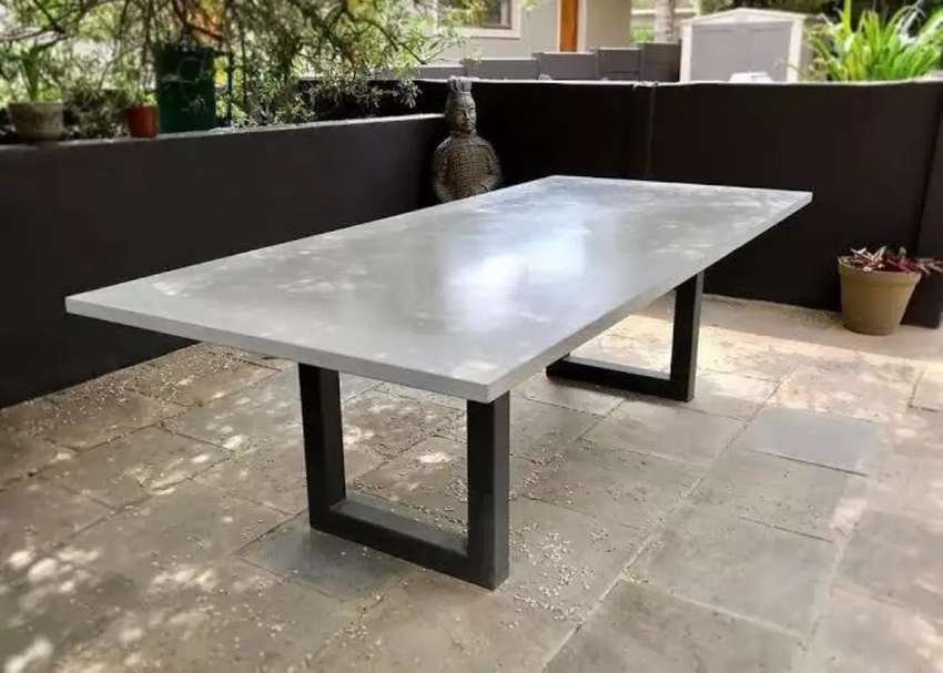 Concrere tables with steel base 6 seater