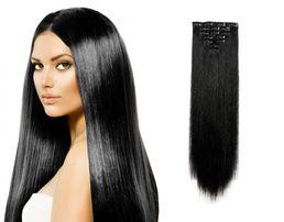 Накладные волосы на заколках набором трессы черные пряди волос