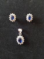 Zestaw biżuterii srebrnej kolczyki zawieszka