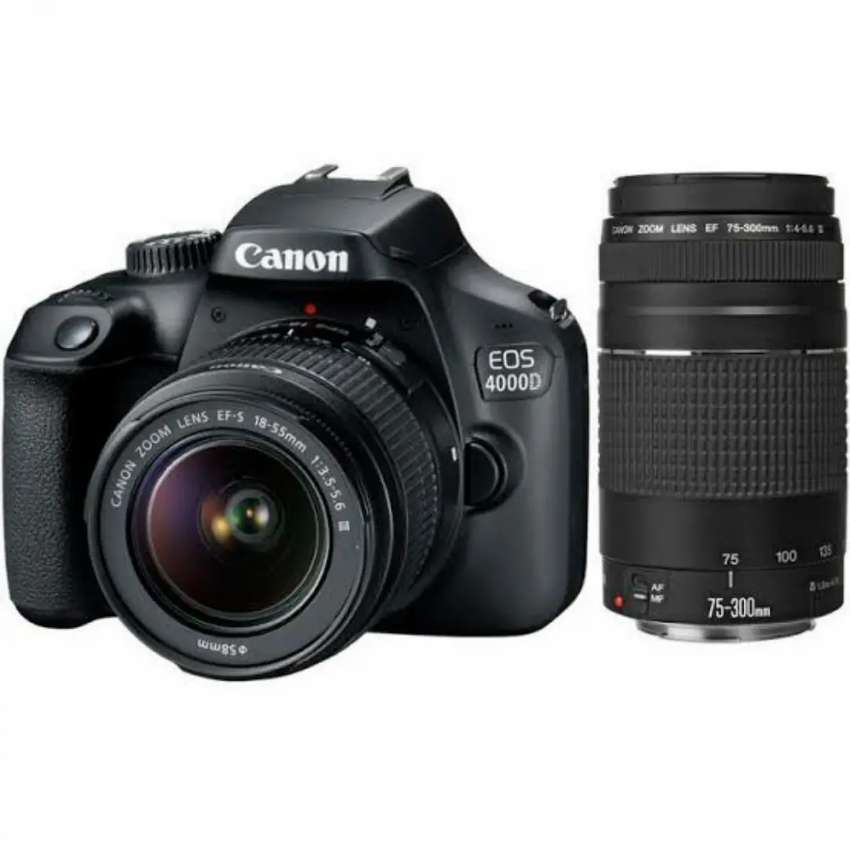 Canon 4000D DLSR + 15-55mm and 75-300mm lens 0