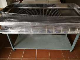 10 burner open flame gas griller with flat plate