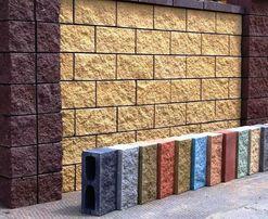 Блок заборный декоративный колотый, шлакоблок забора, рваный камень
