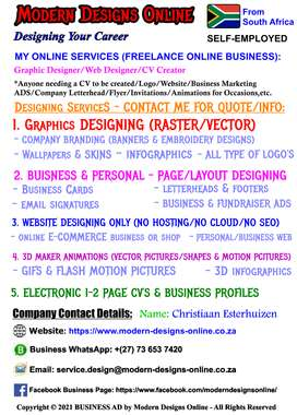 SELF-EMPLOYED Graphic Designer/Web/CV -  Contact me for an Quote/Info
